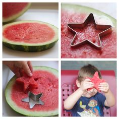 of July desserts Watermelon stars step by step .so perfect for a of July BBQ! 4th Of July Party, Fourth Of July, First Birthday Parties, First Birthdays, 3rd Birthday, Birthday Ideas, 4th Of July Desserts, Kids Meals, Watermelon