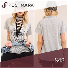 PREORDER Durable lace up detail logo top! Darling Digital logo print crew neck Tee featuring cutout with contrast lace-up detail. Non-sheer. Knit. Lightweight. 80%COTTON 20%POLYESTER Tops