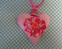 Custom order for Diane C.  Pink felt heart hand by Lucismiles