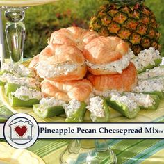 Pineapple Pecan Dip Mix is southern favorite that's sure to become yours. A savory spread packed with green peppers, onions, and pecans. Just add crushed pineapple, cream cheese and sour cream. Baby Food Recipes, Food Network Recipes, Chicken Recipes, Dip Recipes, Pecan Recipes, Casserole Recipes, Clean Eating Snacks, Healthy Snacks, Gratin