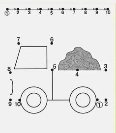 truck by Kids Under Tracing Worksheets for Kids. Free dot to dot worksheets for kids. Numbers Preschool, Kindergarten Worksheets, Learning Activities, Preschool Activities, Kids Learning, Kindergarten Counting, Numbers Kindergarten, Tracing Worksheets, Worksheets For Kids