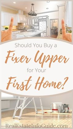 You're a first-time buyer, and you watch HGTV. It looks easy enough to swing a sledgehammer through a wall and splash what walls remain with some paint. So, you just have to find the right property, one that needs some TLC, and you'll be good to go. However, should your first home be a fixer-upper? Click the link to read whether buying a fixer upper is the right move for you!  #RealEstate #FixerUpper #Homebuying #REIG #FirstTimeHomeBuyer #FirstTimeHomeBuyerTips #BuyingAFixerUpperHouse Real Estate Buyers, Real Estate Investor, Real Estate Tips, Real Estate Marketing, Buying Your First Home, Home Buying, Fixer Upper House, Home Selling Tips, Realtor Gifts