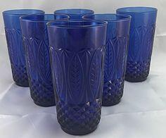 Set of 5 Avon Royal Sapphire Cobalt Blue Tumblers Drinking Glass France Cobalt Glass, Cobalt Blue, Glass Vase, Avon, Blue Drinking Glasses, France, Pint Glass, Pillar Candles, Sapphire