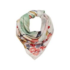 f02a35fd00124 cream geisha girl print silk square scarf ( 22) ❤ liked on Polyvore  featuring accessories