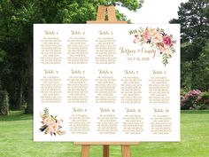 Wedding seating chart printable, Gold guests list watercolor printable, Boho guest list seating chart floral, The Mia collection