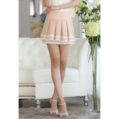 $10.32 Lace Splicing Sweet Style Polyester Ruffled Skirt For Women