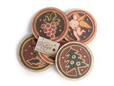 Vintage coasters and Christmas gifts with laser cut and UV printing.