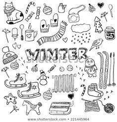 Stylish design elements: ice skates, christmas tree, snowman, socks and others - buy this vector on Shutterstock & find other images. Christmas Doodles, Christmas Drawing, Christmas Trees, Merry Christmas, Doodle Drawings, Doodle Art, Winter Drawings, Bujo Doodles, Bulletins