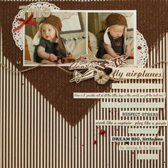 Baby boy's 7 month scrapbook layout using @canvascorp  papers and @tatteredangels Glimmer Mists and Glaze.