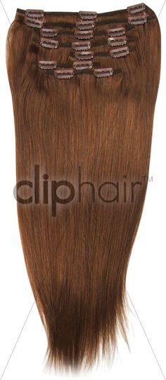 Light Auburn (#30) 20 Inch Full Head Set Clip In Hair Extensions