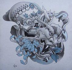 Tattoo design - Skull and Hanya mask by Xenija88.deviantart.com on @deviantART