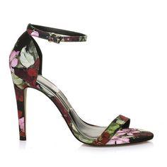 Sandália salto alto Floral Preto