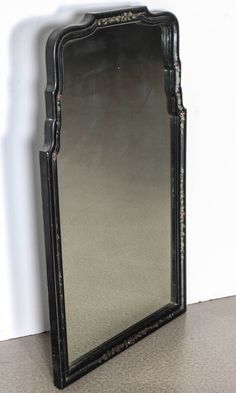 1940s Queen Anne Chinoiserie Ebony Mirror | From a unique collection of antique and modern wall mirrors at http://www.1stdibs.com/furniture/mirrors/wall-mirrors/