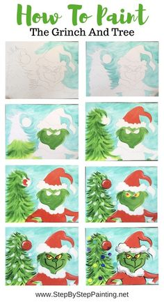 picasso Grinch Painting - With Traceable - Online Step By Step Painting Tutorial : Grinch Painting - With Traceable - Online Step By Step Painting Tutorial Christmas Paintings On Canvas, Christmas Canvas, Christmas Art, Xmas, Canvas Paintings, Canvas Art, Painting For Kids, Diy Painting, Online Painting
