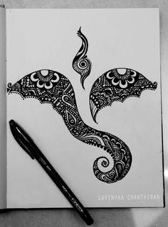 Ganesha|Doodle|Art by Lavinyaa Chanthiran Doodle Art Drawing, Zentangle Drawings, Cool Art Drawings, Art Sketches, Zentangle Patterns, Zentangles, Lord Ganesha Paintings, Ganesha Art, Krishna Art