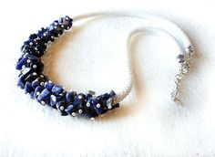White beads crochet rope necklace with blue by RebekeJewelryShop, $45.00