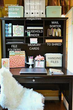 Office Organization Ideas – Joyful Homemaking – Home Office Design Diy Office Organization At Work, Room Organization, Organized Office, Office Setup, Office Table, Organizing Ideas For Office, Office Storage Ideas, Project Life Organization, Office Hacks