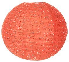 """8"""" Tangerine Round Eyelet Paper Lantern"""