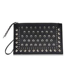 Black Rivet and Eyelet Rectangle Bag