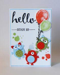 Geburtstagskarte / birthday card, Stampin Up, Eulenstanze / Owl Punch