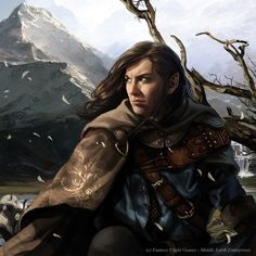 Elrohir Lord of the Rings illustrations for the Living Card Game (LCG) published by Fantasy Flight Games Art by Magali Villeneuve