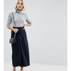 ASOS PETITE Tailored Clean Column Skirt With Pleats (€18) ❤ liked on Polyvore featuring skirts, navy, petite, knee length denim skirt, navy blue pleated skirt, high waisted pleated skirt, knee length pleated skirt and high waisted short skirts