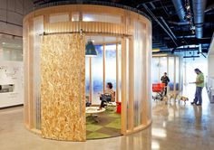 circular meetingroom-pods made from simple construction materials in Aol Offices by Studio O + A
