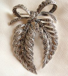 Sterling Bow Brooch Pin Silver Art Nouveau Leaves by cutterstone
