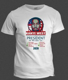 Kanye-West-Yeezus-For-President-2020-white-T-Shirt-Mens-S-M-L-XL
