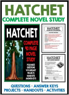 6th Grade Reading, 4th Grade Writing, Fourth Grade, Middle School Literacy, Middle School Reading, Hatchet Activities, Hatchet Book, Ninth Grade, Seventh Grade