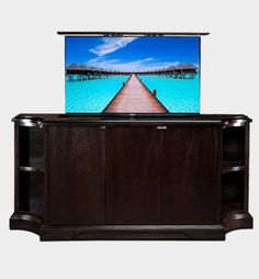 """Discover the unlimited customization potential of the Carlton Credenza Buffet"""" A custom dlat screen TV riser for flat screen TVs. Big Screen Tv, Flat Screen, Cabinet Furniture, Furniture Design, Tv Credenza, Modern Family Rooms, Modern Tv, Foot Of Bed, Tv Cabinets"""