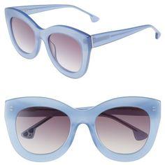Women's Alice + Olivia Madison 56Mm Cat Eye Sunglasses (935 SAR) ❤ liked on Polyvore featuring accessories, eyewear, sunglasses, cornflower, anti glare sunglasses, cat eye glasses, cateye sunglasses, lens glasses and cat-eye glasses