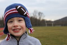 Free Crochet Football Applique Hat. Cute in your team colors.