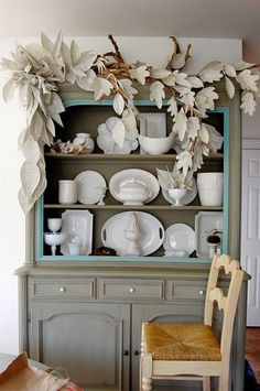 Book paper leaves and cool china hutch