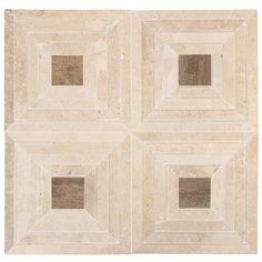 "Tonya Comer Boulevard Travertine 16"" x 16"" Marble Tile With Noon Honey Natural Insert"