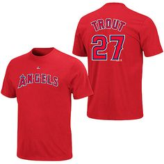 d55436c288 Los Angeles Angels of Anaheim Mike Trout Name and Number T-Shirt by  Majestic Athletic