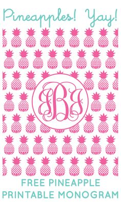 Free Pineapple Printable Monogram Maker from printablemonogram.com #freeprintable