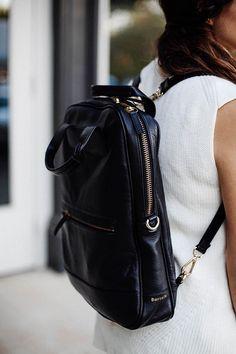 black leather backpacks