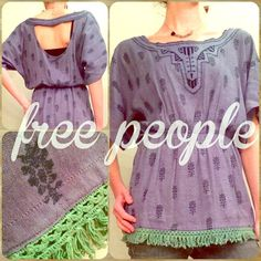 FREE PEOPLE Embroidered Tunic with Fringe This super cute Free People tunic has a cut out back, beautiful embroidery all over, with tassel fringe along the hem. Worn twice. Free People Tops Tunics