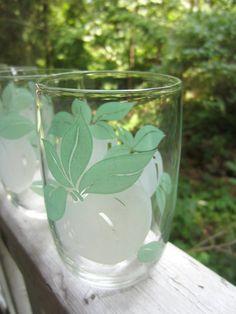Vintage Juice Glasses Fruit Motif Rounded Bottom by corrnucopia