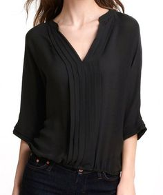 Simple Style V-Neck Solid Color Pleated Chiffon Women's Blouse
