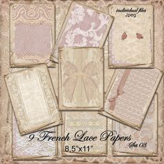 Printable Download DIGITAL LACE Scrapbooking PAPER by pixelmarket