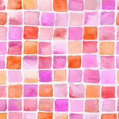 watercolor squares in red and magenta