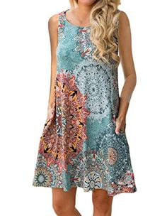 Women's Sleeve Damask Floral Printed Tunic Dress Bohemian Swing Casual Midi Dress with Pocket Tunic Blouses for Leggings (Medium, Lake Blue) Plus Size Maxi Dresses, Casual Dresses, Short Sleeve Dresses, Summer Dresses, Long Sleeve, Tunic Dresses, Blouse Dress, Summer Clothes, Boho Dress