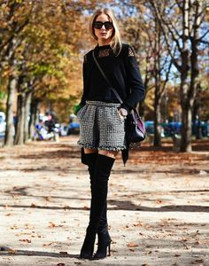 houndstooth and thigh-high boots