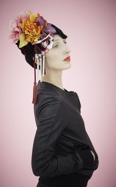 fumbalinas - SS14 floral bouquet #ascot #statement #headpiece #hat #vintage inspired #chains #wedding