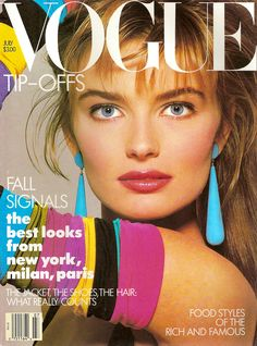 "Vogue - July 1987 Paulina Poriskova: she and Cindy Crawford were the original ""Super Models"" Paulina Porizkova, Vintage Vogue Covers, 80s And 90s Fashion, Retro Fashion, Style Fashion, High Fashion, Vintage Fashion, Fashion Tips, Fashion Trends"