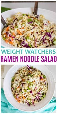 This Weight Watchers Ramen Noodle Salad is a great side dish for picnics and parties. A Weight Watchers Freestyle Recipe with 5 points per large serving. via Weight watchers meals Salade Weight Watchers, Weight Watchers Lunches, Plats Weight Watchers, Weight Watchers Dressing, Weight Watchers Food, Weight Watchers Vegetarian, Weight Watcher Vegetable Recipes, Weight Watcher Chicken Salad Recipe, Wieght Watchers