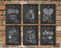 The Ultimate Harley Davidson Motorcycle Patent Wall Art Poster Set - Harley Davidson Home Decor Gift Idea Giclee Print