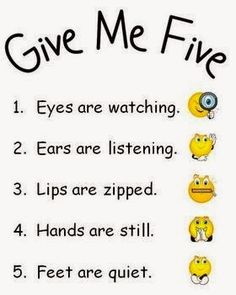 Give Me Five Behavior Management Posters Count to five or hold up one finger at a time when the class needs to refocus. Discuss what occurs for each number at the beginning of the school year and eventually the reaction will be automatic. Classroom Rules, Preschool Classroom, Classroom Organization, Kindergarten Rules, Classroom Decor, Star Themed Classroom, Preschool Rules, Classroom Posters, Give Me Five
